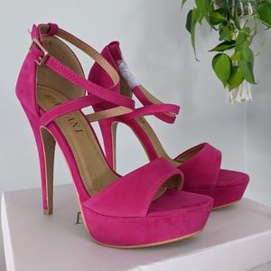 Hot Pink Ankle Straps Heels